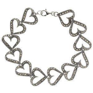 QVC Suspicion Sterling Marcasite Heart Bracelet
